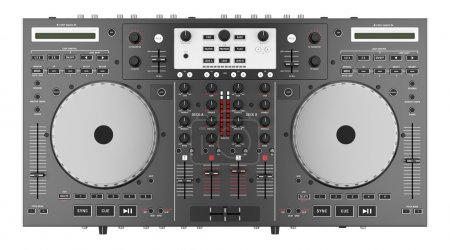 top view of dj mixer controller isolated on white background