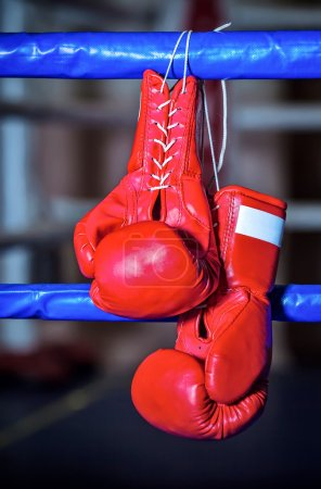 Photo for A pair red boxing gloves hangs off ring - Royalty Free Image