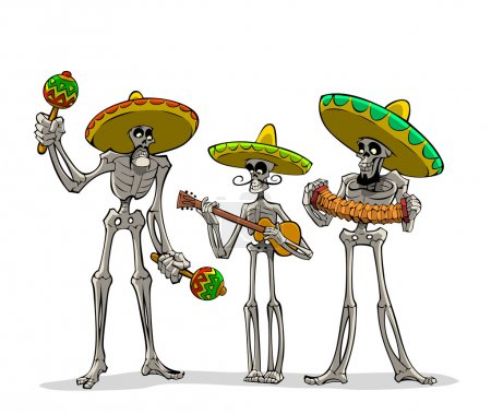 Illustration for Danse Macabre. Three mexican skeletons with instruments play musics. - Royalty Free Image