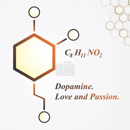 Illustration for Dopamine molecule. Love and passion concept. Vector Illustration - Royalty Free Image