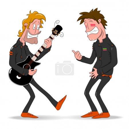 Illustration pour Hommes illustrés riant - image libre de droit