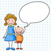 Happy family on white exercise book background Mother and son