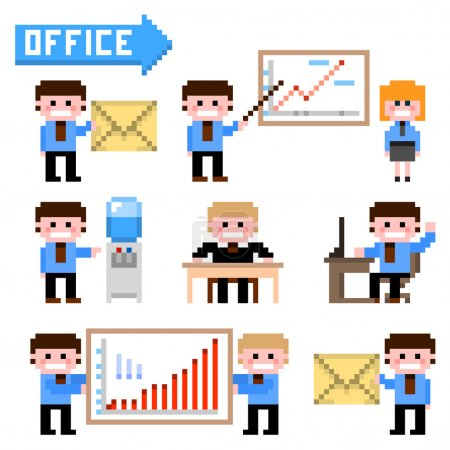 Set of pixel icon. Office theme vector illustration