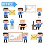 Set of pixel icon. Office theme vector illustratio...