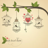 Retro birds in a cage Vector illustration of Valentines theme
