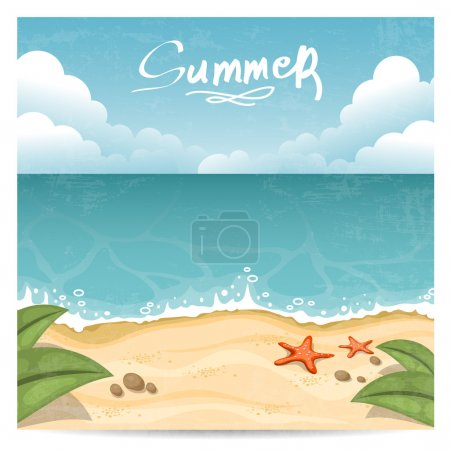 Photo for Summer beach. Vector illustration - Royalty Free Image