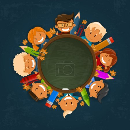 Happy children. Back to school theme. Vector illustration