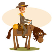 The happy cowboy astride a horse