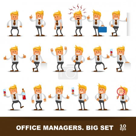 Illustration for Set of Happy office man - Royalty Free Image