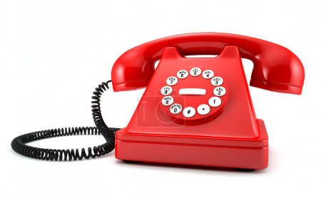 Photo for 3d illustration of red old-fashioned phone on white background - Royalty Free Image
