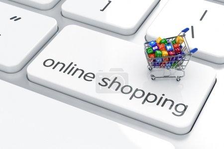 Photo pour Panier isolé sur le clavier de l'ordinateur. magasinage en ligne concept - image libre de droit