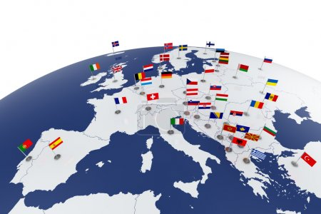 Photo for 3d render of Europe map with countries flags - Royalty Free Image