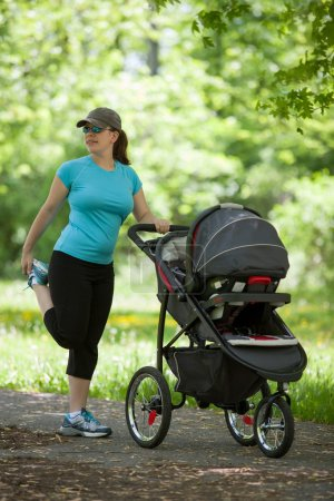 Young woman with a stroller