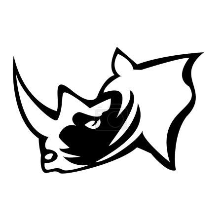 Illustration pour Illustration vectorielle de la tête de rhinocéros - image libre de droit