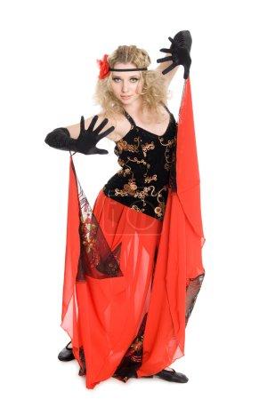 Photo for Young beautiful girl dancing spanish flamenco. - Royalty Free Image