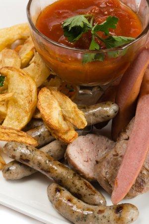 Set of tasty sausages