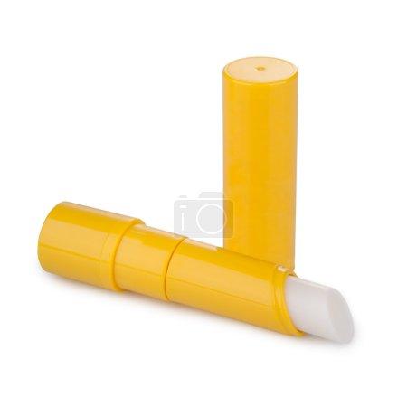 Photo pour Baume à lèvres avec ombre isolé sur blanc - image libre de droit