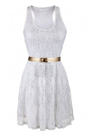 White lace dress with golden belt