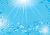 Blue musical background with notes and rays - vector