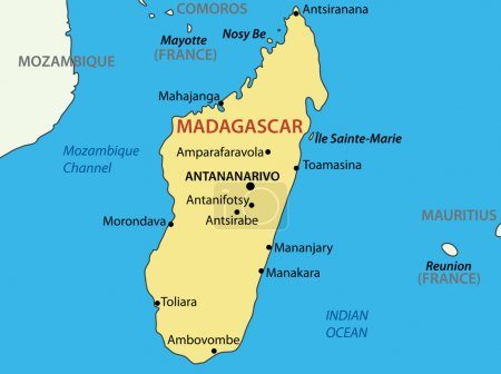 Республика Мадагаскар векторная карта