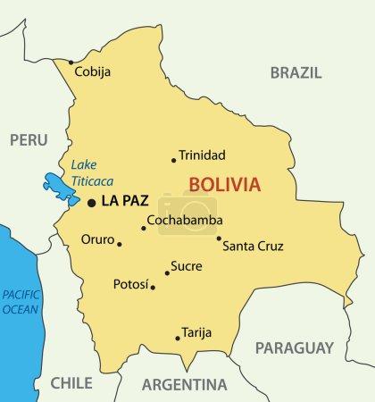 Illustration pour État plurinational de Bolivie - carte vectorielle - image libre de droit