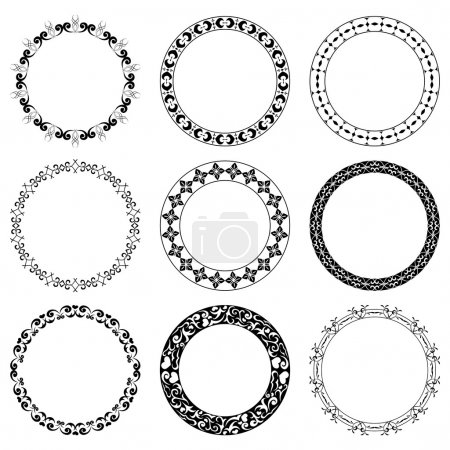 Illustration for Round decorative frames - vector set - Royalty Free Image