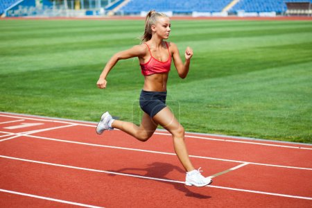Photo for Attractive young woman in a sports suit running on a treadmill at the stadium - Royalty Free Image