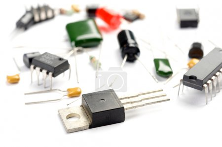 Photo for Radio components on white background - Royalty Free Image