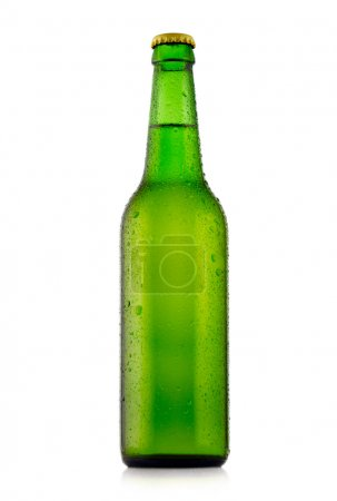 Bottle of beer with waterdrops. Isolated on white background