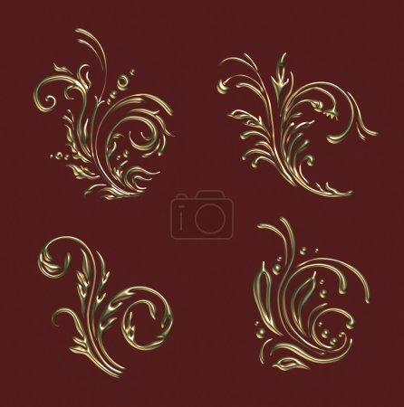 Photo for Gold floral background element set for design. - Royalty Free Image