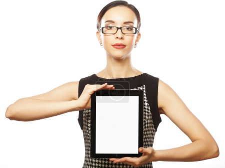 Young business woman showing tablet