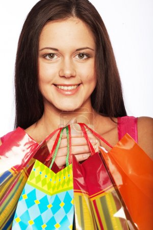 Photo for Beautiful shopping woman happy holding shopping bags. - Royalty Free Image