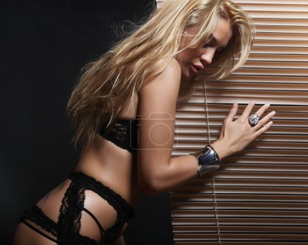 Photo for Fashion shoot of young sexy woman in black  lingerie - Royalty Free Image
