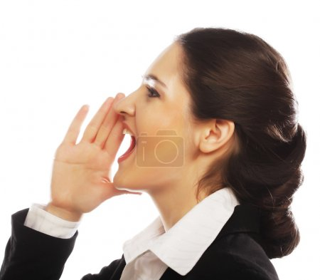 Photo for Beautiful business woman making silence sign - Royalty Free Image