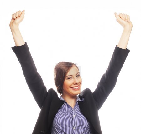 Photo for Happy winner. Successful business woman celebrating with arms up. - Royalty Free Image