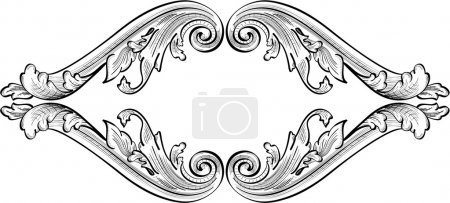 Illustration for Acanthus cartouche isolated on white - Royalty Free Image