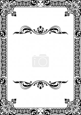 Illustration for Baroque frame isolated on white - Royalty Free Image