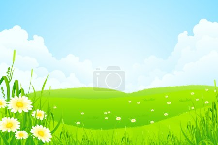 Illustration for Green Nature Landscape with Flowers and Clouds - Royalty Free Image