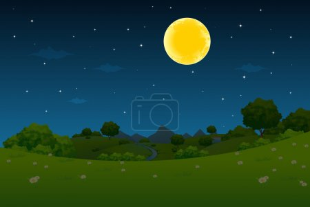 Illustration for Night Landscape with Moon and Stars - Royalty Free Image