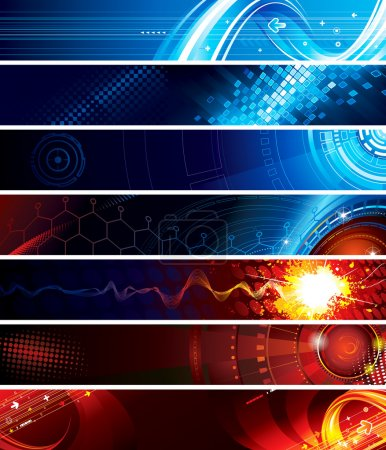 Illustration for Set of abstract technology web banner. - Royalty Free Image