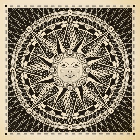 Illustration for Classic vintage sun compass rose. - Royalty Free Image