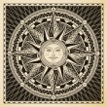 Classic vintage sun compass rose....