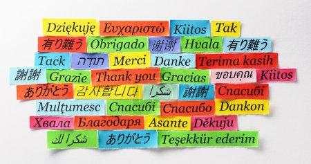 Photo pour Merci Word Cloud imprimé sur papier coloré différentes langues - image libre de droit