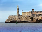 Lighthouse in Morro Castle, fortress guarding the entrance to Havana bay, a symbol of Havana, Cuba