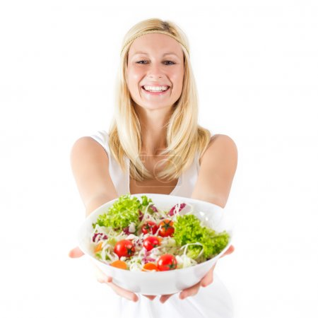 Photo for Happy young woman holding bowl with healthy fresh food . - Royalty Free Image