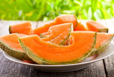Photo pour Tranches de melon cantaloup - image libre de droit