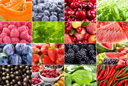 Photo for Collage with different fruits, berries, herbs and vegetables - Royalty Free Image