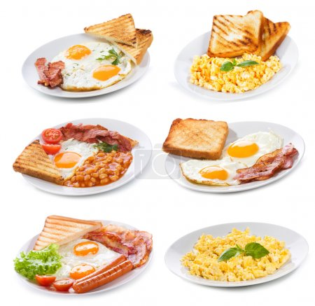 Photo for Set with various plates of fried and scrambled eggs on white background - Royalty Free Image