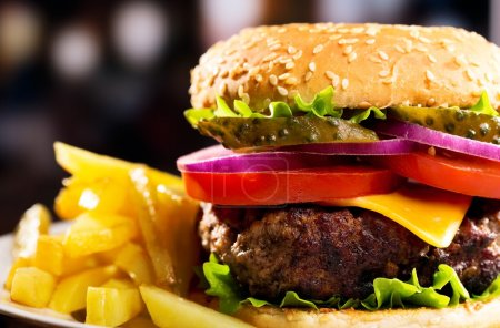 Photo for Hamburger with fries - Royalty Free Image