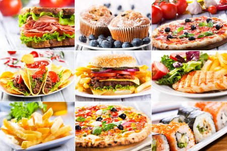 Photo for Collage of various fast food products - Royalty Free Image